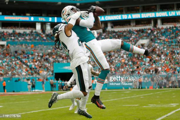 DeVante Parker of the Miami Dolphins makes a catch against the Philadelphia Eagles during the second quarter at Hard Rock Stadium on December 01 2019...