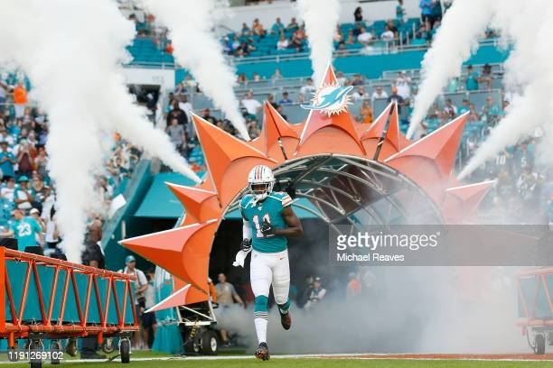 DeVante Parker of the Miami Dolphins takes the field during player introductions prior to the game against the Philadelphia Eagles at Hard Rock...