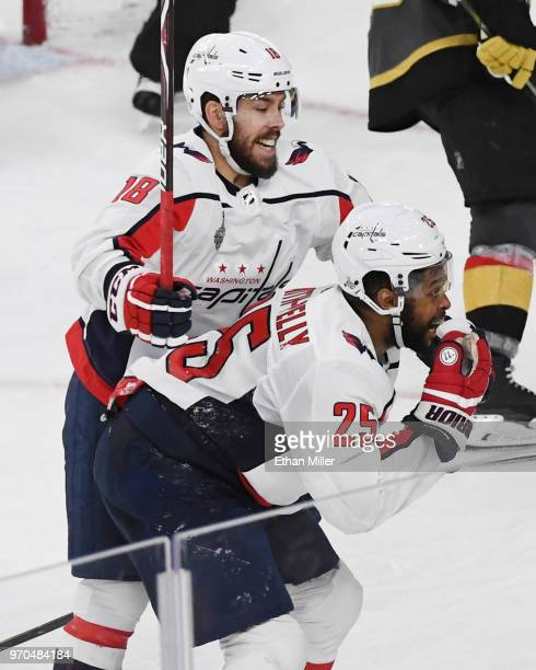 Devante SmithPelly and Chandler Stephenson of the Washington Capitals celebrate after SmithPelly scored a thirdperiod goal against the Vegas Golden...
