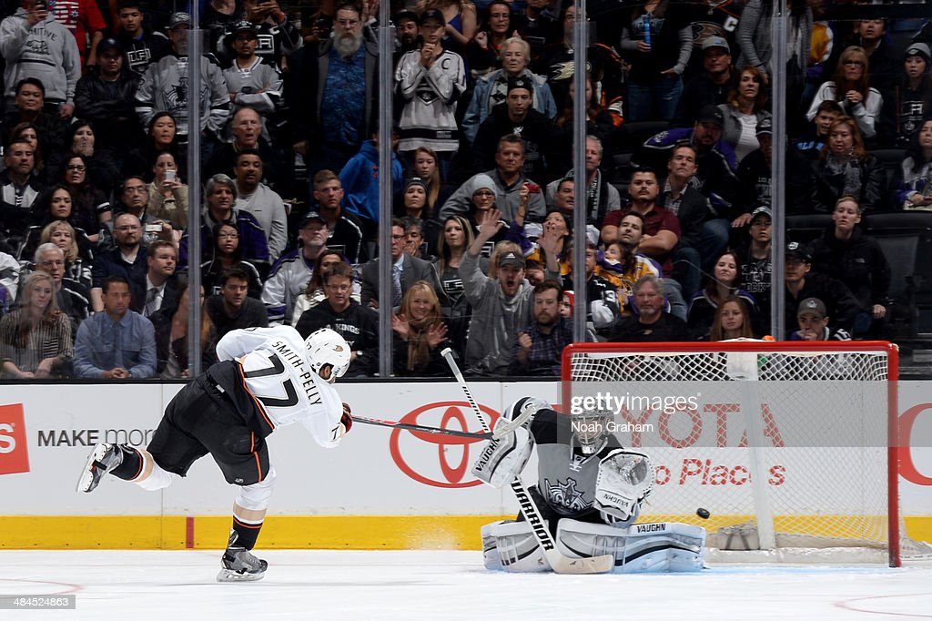 Devante Smith-Pelly #77 of the Anaheim Ducks scores the game winning goal in the shootout against Jonathan Quick #32 of the Los Angeles Kings at Staples Center on April 12, 2014 in Los Angeles, California.