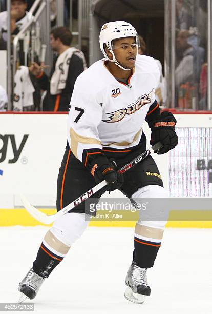 Devante Smith-Pelly of the Anaheim Ducks skates against the Pittsburgh Penguins during the game at Consol Energy Center on November 18, 2013 in...