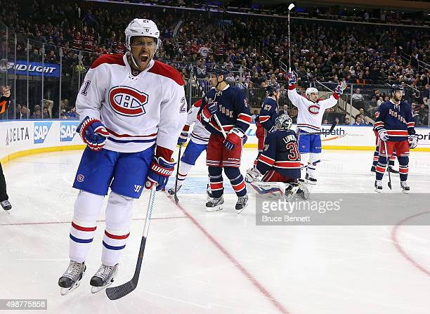 Devante SmithPelly of the Montreal Canadiens celebrates his second goal of the game against the New York Rangers at 17 seconds of the third period at...