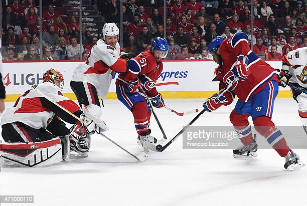 Devante SmithPelly of the Montreal Canadiens takes a shot on goal Craig Anderson of Ottawa Senators in Game Five of the Eastern Conference...