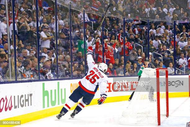 Devante SmithPelly of the Washington Capitals celebrates after scoring a goal in the third period in Game Six of the Eastern Conference First Round...