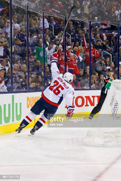 Devante SmithPelly of the Washington Capitals celebrates after scoring a goal in Game Six of the Eastern Conference First Round during the 2018 NHL...