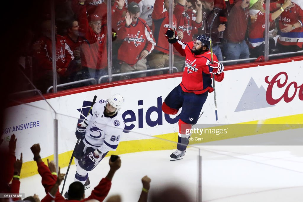 Devante Smith-Pelly #25 of the Washington Capitals celebrates his goal in the third period against the Tampa Bay Lightning in Game Six of the Eastern Conference Finals during the 2018 NHL Stanley Cup Playoffs at Capital One Arena on May 21, 2018 in Washington, DC.