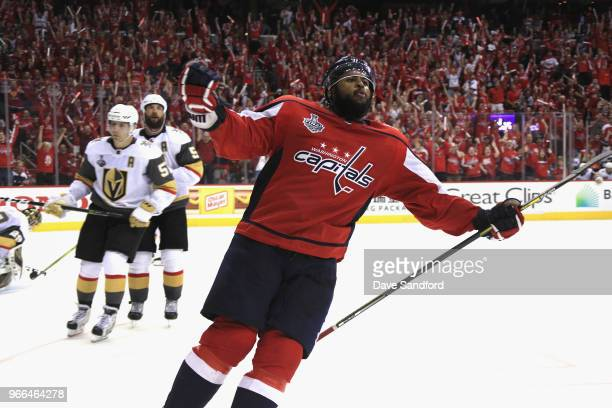 Devante SmithPelly of the Washington Capitals celebrates his goal in the third period of Game Three of the 2018 NHL Stanley Cup Final against the...