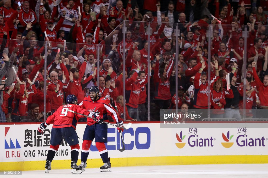 Devante Smith-Pelly #25 of the Washington Capitals celebrates his goal against the Columbus Blue Jackets in the third period in Game One of the Eastern Conference First Round during the 2018 NHL Stanley Cup Playoffs at Capital One Arena on April 12, 2018 in Washington, DC.