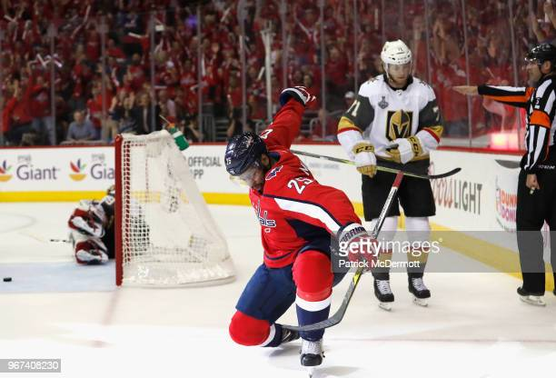 Devante SmithPelly of the Washington Capitals celebrates his goal during the first period of Game Four of the 2018 NHL Stanley Cup Final against the...