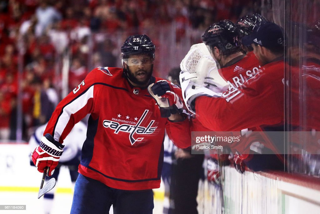 Devante Smith-Pelly #25 of the Washington Capitals celebrates in the third period against the Tampa Bay Lightning in Game Six of the Eastern Conference Finals during the 2018 NHL Stanley Cup Playoffs at Capital One Arena on May 21, 2018 in Washington, DC.