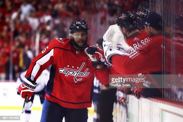Devante SmithPelly of the Washington Capitals celebrates in the third period against the Tampa Bay Lightning in Game Six of the Eastern Conference...