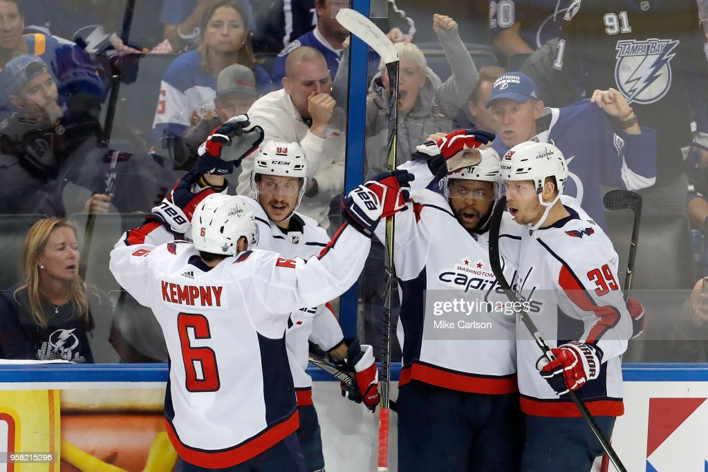 Devante Smith-Pelly #25 of the Washington Capitals celebrates with his teammates after scoring a goal against Andrei Vasilevskiy #88 of the Tampa Bay Lightning during the second period in Game Two of the Eastern Conference Finals during the 2018 NHL Stanley Cup Playoffs at Amalie Arena on May 13, 2018 in Tampa, Florida.