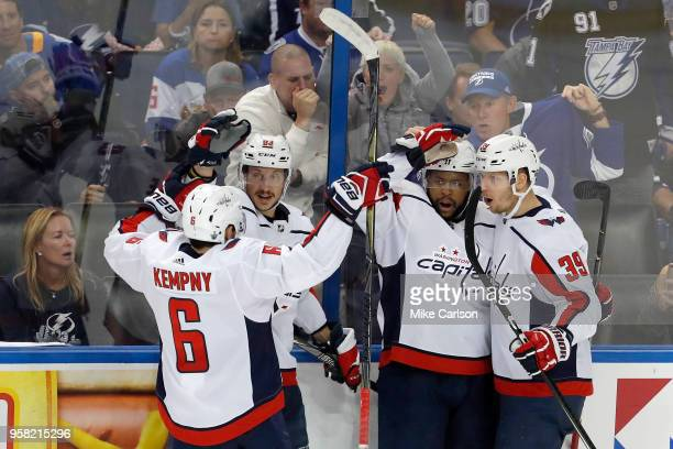 Devante SmithPelly of the Washington Capitals celebrates with his teammates after scoring a goal against Andrei Vasilevskiy of the Tampa Bay...