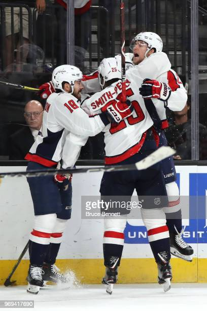 Devante SmithPelly of the Washington Capitals is congratulated by his teammates after scoring a thirdperiod goal against the Vegas Golden Knights in...