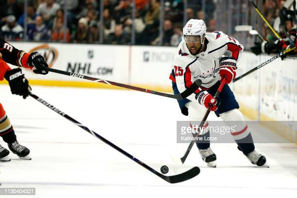 Devante SmithPelly of the Washington Capitals looks for a pass during the second period against the Anaheim Ducks at Honda Center on February 17 2019...