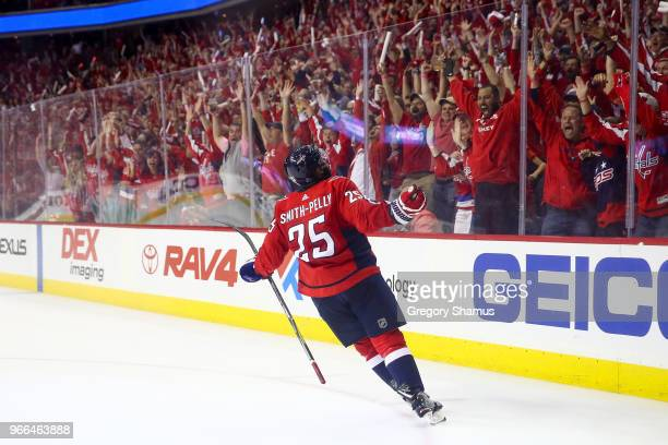 Devante SmithPelly of the Washington Capitals reacts after scoring a goal against the Vegas Golden Knights during the third period in Game Three of...