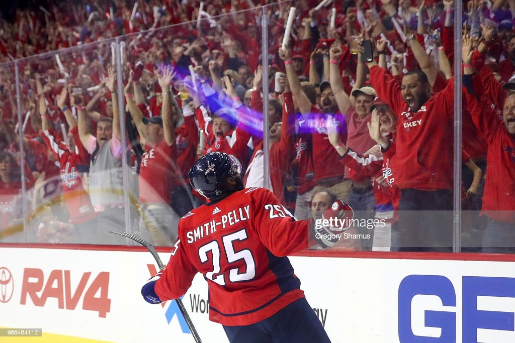Devante Smith-Pelly #25 of the Washington Capitals reacts after scoring a goal against the Vegas Golden Knights during the third period in Game Three of the 2018 NHL Stanley Cup Final at Capital One Arena on June 2, 2018 in Washington, DC.
