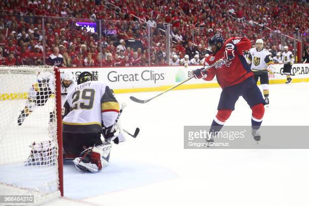 Devante SmithPelly of the Washington Capitals scores a goal against MarcAndre Fleury of the Vegas Golden Knights during the third period in Game...