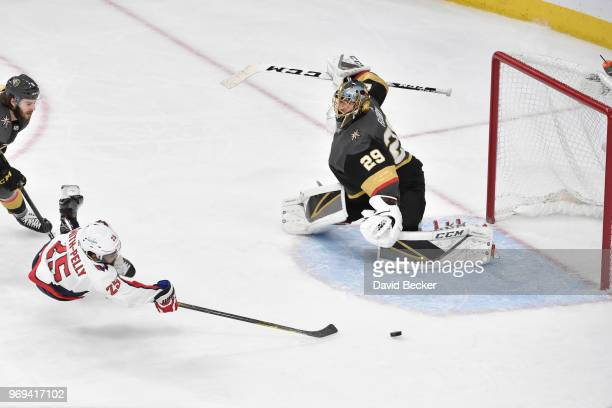Devante SmithPelly of the Washington Capitals scores a goal against MarcAndre Fleury of the Vegas Golden Knights in Game Five of the Stanley Cup...