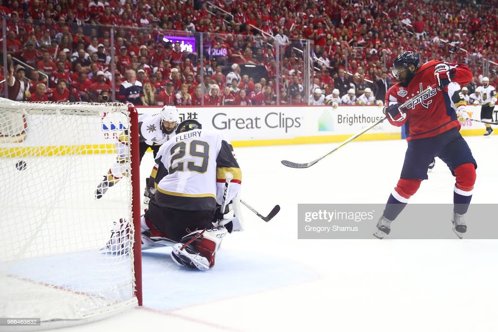 Devante Smith-Pelly #25 of the Washington Capitals scores a goal past Marc-Andre Fleury #29 of the Vegas Golden Knights during the third period in Game Three of the 2018 NHL Stanley Cup Final at Capital One Arena on June 2, 2018 in Washington, DC.