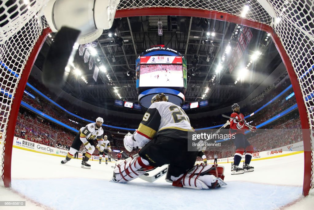 Devante Smith-Pelly #25 of the Washington Capitals scores a third-period goal past Marc-Andre Fleury #29 of the Vegas Golden Knights in Game Three of the 2018 NHL Stanley Cup Final at Capital One Arena on June 2, 2018 in Washington, DC. The Capitals defeated the Golden Knights 3-1.