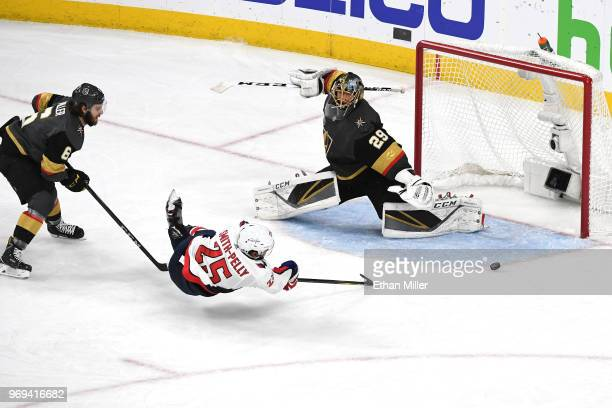 Devante SmithPelly of the Washington Capitals scores a thirdperiod goal past MarcAndre Fleury of the Vegas Golden Knights in Game Five of the 2018...