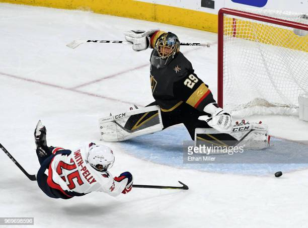 Devante SmithPelly of the Washington Capitals scores a thirdperiod goal against MarcAndre Fleury of the Vegas Golden Knights in Game Five of the 2018...
