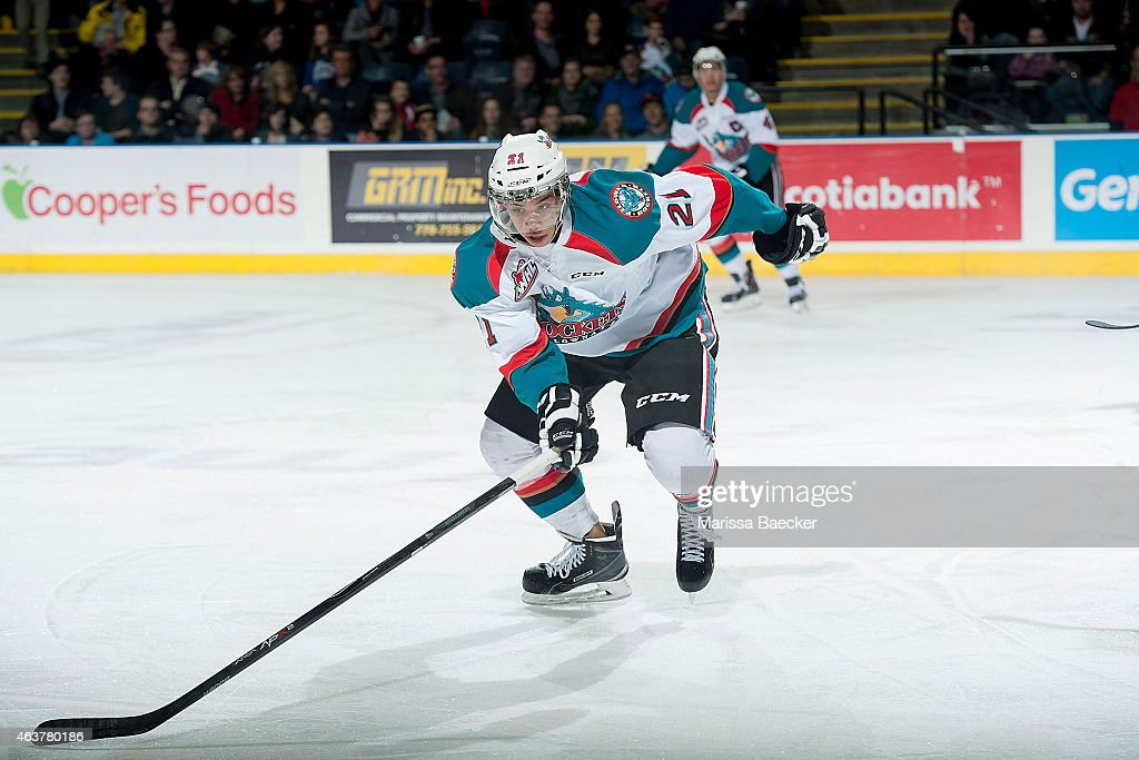 Devante Stephens #21 of Kelowna Rockets skates against the Moose Jaw Warriors on February 14, 2015 at Prospera Place in Kelowna, British Columbia, Canada.