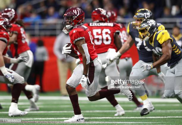 De'VanteBausby of the San Antonio Commanders runs after intercepting a pass during the third quarter against the San Diego Fleet in an Alliance of...
