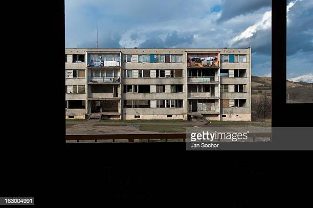 Devastated apartment block seen through an empty window in the Gipsy ghetto of Chanov on outskirts of Most, Czech Republic, 22 March 2008.