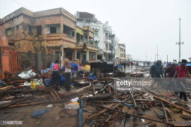 Devastated look of Puri beach after the onset of cyclone Fani on May 3 2019 in Puri India Cyclone Fani on Friday lashed Odisha triggering heavy...