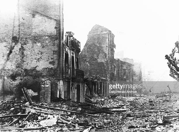 Devastation and destruction in Guernica after the air raid 29th April 1937 Photograph of Guernica 'capital of the Basque country after it was...