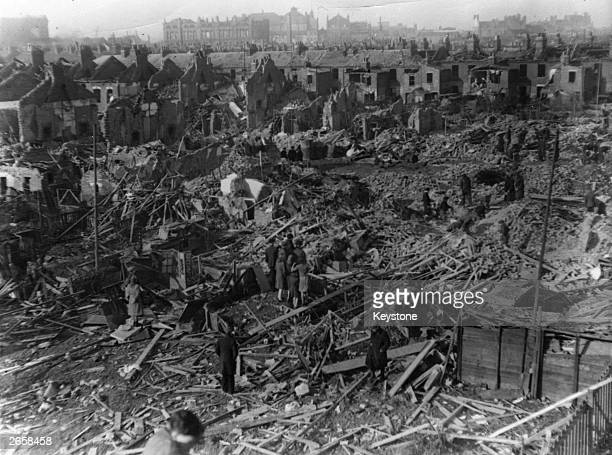 Devastation caused by a German Vbomb attack in Stratford East London