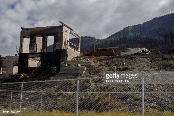Devastation from wildfires in Lytton, British Columbia, on September 1, 2021. - On the front lines of global warming, evacuees from Lytton, a western...
