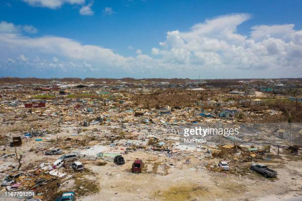 Devastation on Marsh Harbour Abaco island on September 11 2019 The Mudd used to be a slum where live mostly indocumented haitians