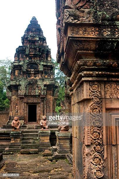 A devata or guardian spirit is engraved on Banteay Srei temple on October 5 2009 in Angkor Cambodia Banteay Srei is a 10th century Cambodian temple...
