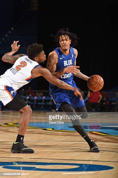Devaugh AkoonPurcell of the Delaware Blue Coats dribbles the ball against the Westchester Knicks during an NBA GLeague game at the Bob Carpenter...
