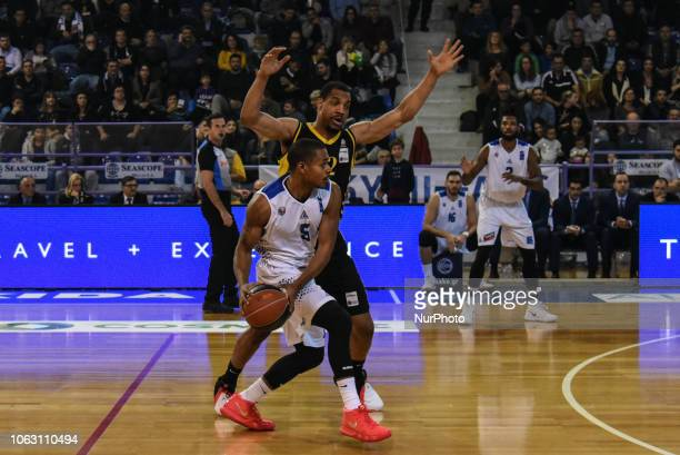 DeVaughn Washington against Vince Hunter during Griechenland Basket League match between Kymis BC and AEK Athens BC in Chalkida Greece on November 17...