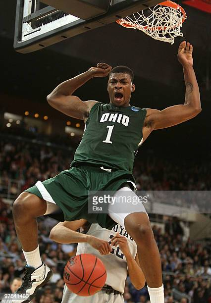 DeVaughn Washington of the Ohio Bobcats celebrates his dunk in the second half against the Georgetown Hoyas during the first round of the 2010 NCAA...