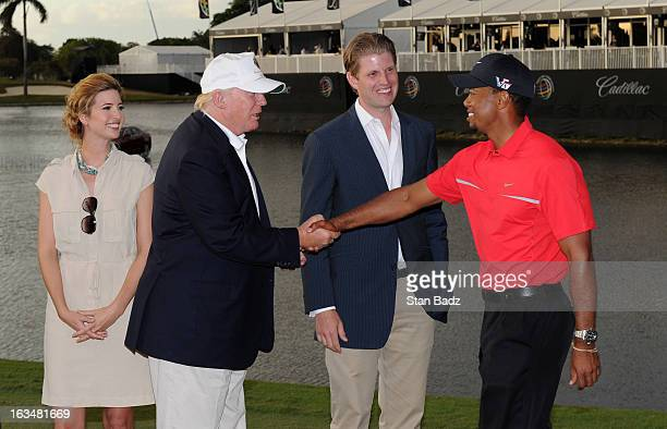Developer Donald Trump greets Tiger Woods after the final round of the World Golf ChampionshipsCadillac Championship at TPC Blue Monster at Doral on...
