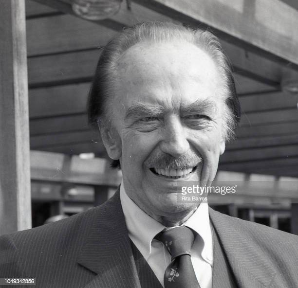 Developer Fred Trump attends the opening of the restored Wollman Rink in Central Park on November 5 1987 in New York City New York