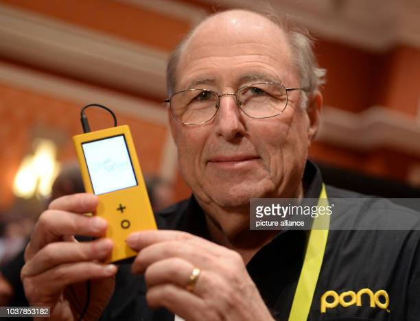 Developer Phil Baker presents a music player 'Pono player 2' by manufacturer Pono Music founded by musician Neil Young during the 'ShowStoppers'...