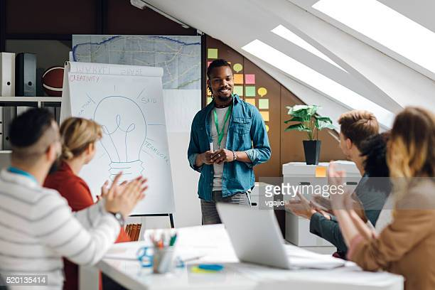 developer startup business presentation in their office. - brilliant stock photos and pictures