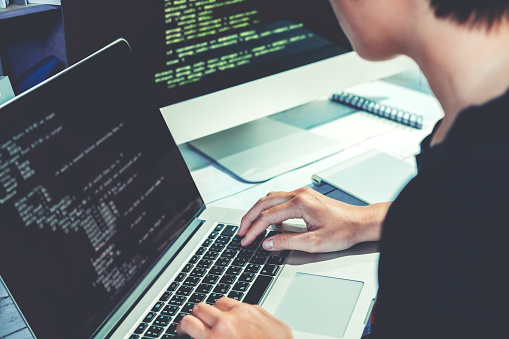 Developing programmer Development Website design and coding technologies working in software company office 1075234744