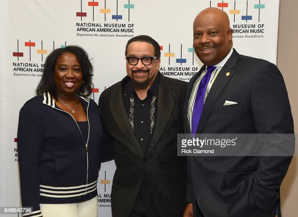 Development Director NMAAM Lolita Toney Minister Richard Smallwood and President and CEO NMAAM H Beecher Hicks arrive at an Evening with Richard...