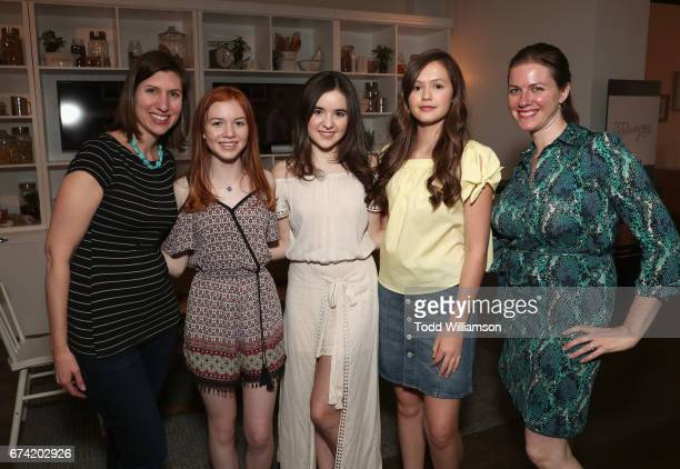 Development executive Christina Reynolds actors Abby Donnelly Aubrey K Miller Olivia Sanabia and development executive Melissa Wolfe attend Amazon...