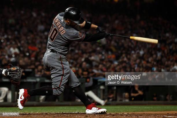 Deven Marrero of the Arizona Diamondbacks at bat against the San Francisco Giants during the fifth inning at ATT Park on April 9 2018 in San...