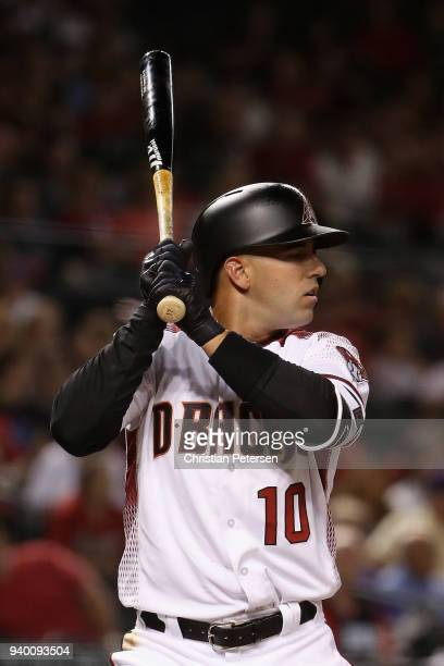 Deven Marrero of the Arizona Diamondbacks bats against the Colorado Rockies during the seventh inning of the opening day MLB game at Chase Field on...