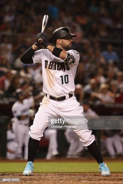 Deven Marrero of the Arizona Diamondbacks bats against the Los Angeles Dodgers during the MLB game at Chase Field on May 1 2018 in Phoenix Arizona