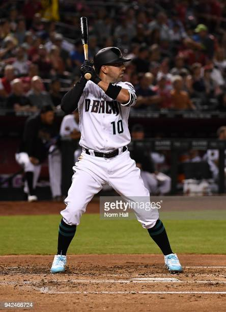 Deven Marrero of the Arizona Diamondbacks gets ready in the batters box against the Los Angeles Dodgers at Chase Field on April 3 2018 in Phoenix...
